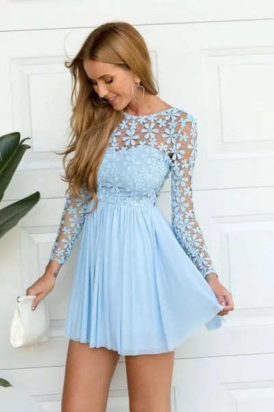 light blue long sleeve fit and flare short pleated dress