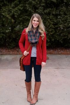 long red cardigan with grey and navy plaid scarf and knee high brown boots