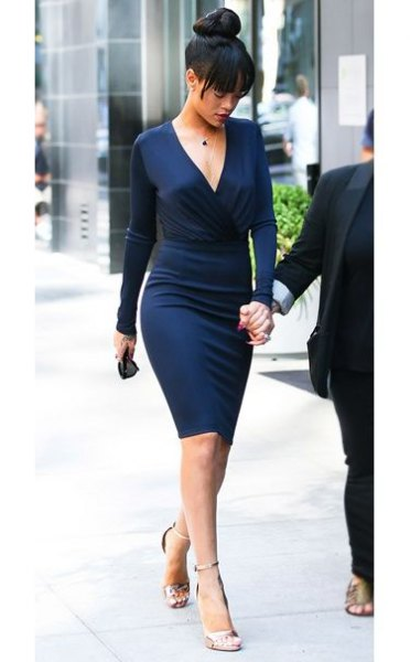 midnight blue deep v neck midi bodycon dress with silver heels