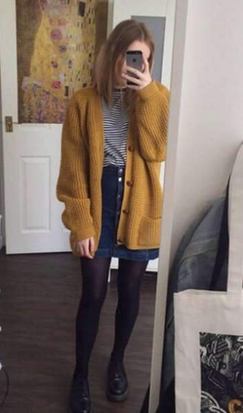 mustard yellow ribbed chunky cardigan sweater with black and white striped tee
