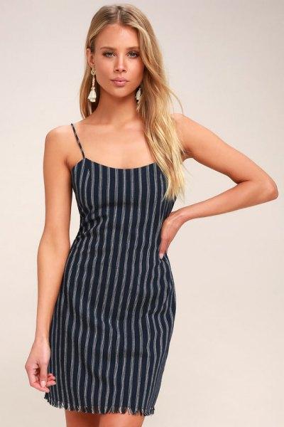 navy blue and white vertical striped short slip dress