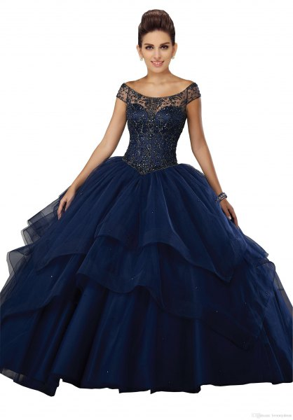 navy blue boat neck fit and flare tulle floor length gown