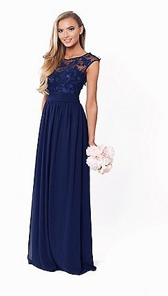 navy blue semi sheer fit and flare chiffon pleated maxi dress