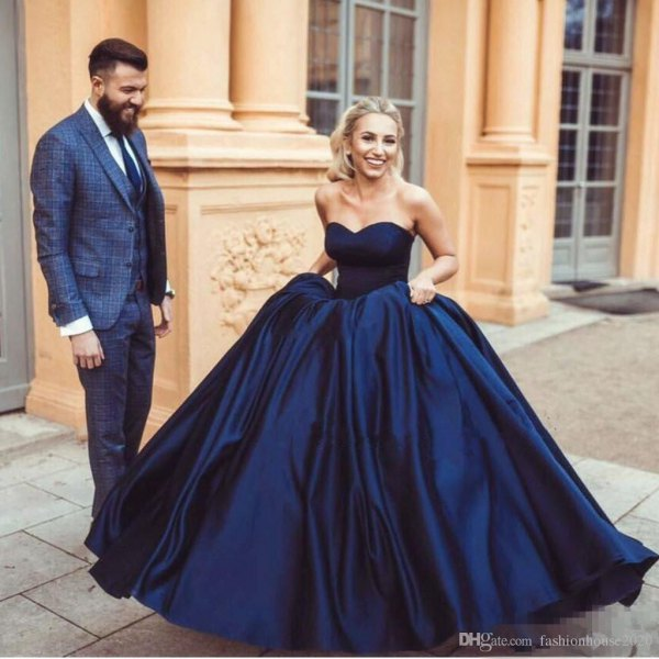 navy blue sweetheart fit and flare silk wedding gown