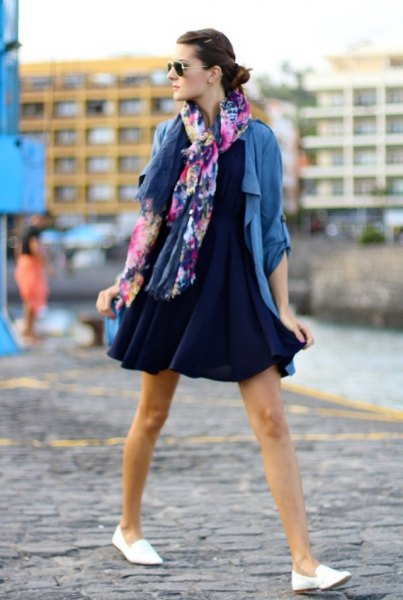 navy mini swing gown with blue casual blazer
