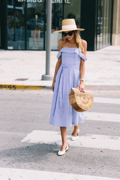 off the shoulder fit and flare midi dress with straw hat