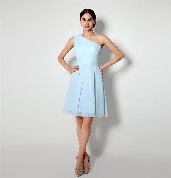 one shoulder fit and flare mini chiffon light blue dress