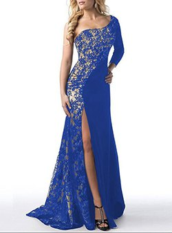 one shoulder royal blue and silver sequin high slit gown
