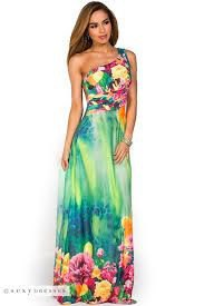one shoulder sky blue and white floral printed maxi luau dress
