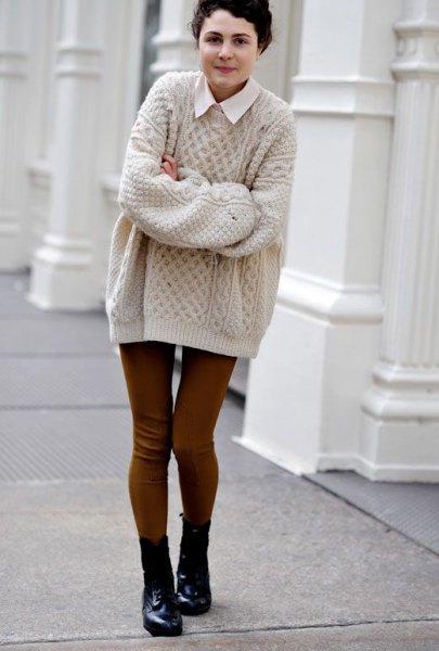 pale pink cable knit oversized sweater with white collar shirt