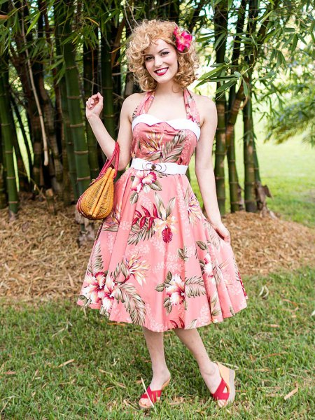 pink floral print halter neck fit and flare midi dress