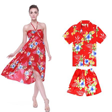 red and blue hawaiian floral printed midi breezy luau dress