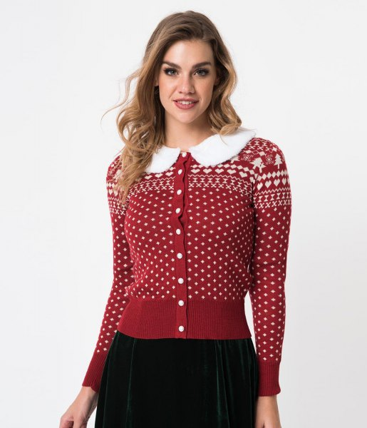 red and white christmas printed button up cardigan with black skirt
