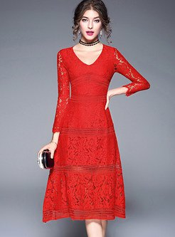 red long sleeve fit and flare midi lace dress with choker
