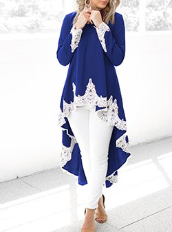 royal blue and white lace high low tunic dress with skinny jeans
