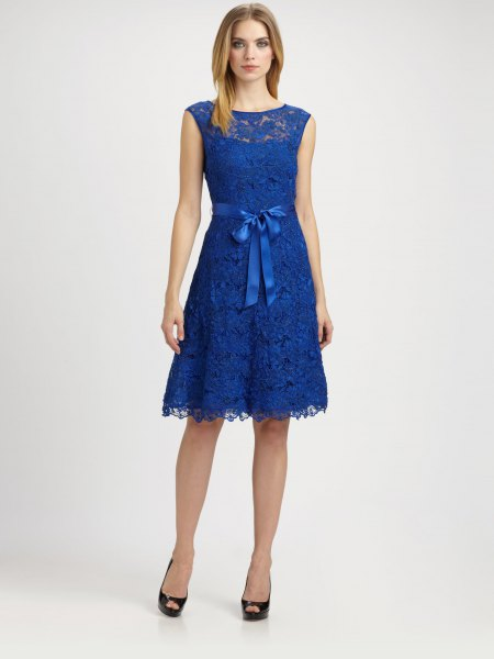 royal blue ribbon tie waist sleeveless knee length dress with open toe heels