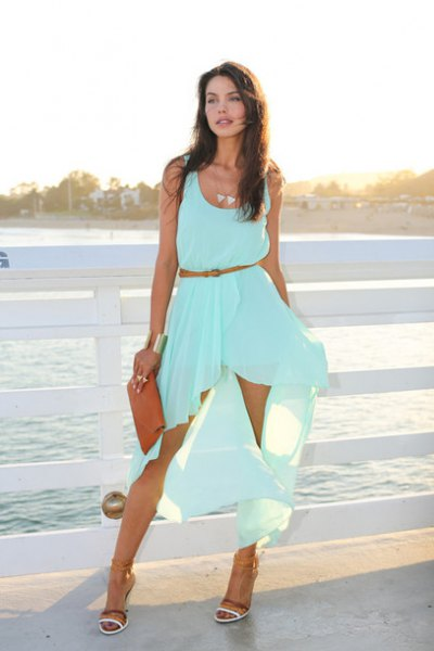 scoop neck belted sleeveless aqua blue midi flowy dress