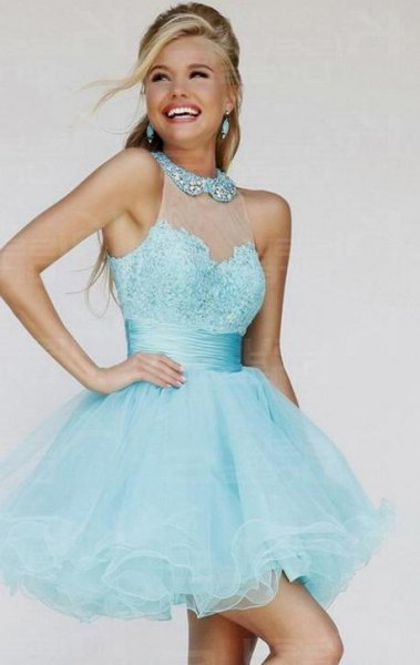 semi sheer sequin collar fit and flare tulle mini dress