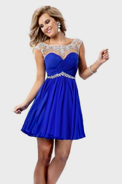 silver and royal blue fit and flare mini belted formal dress