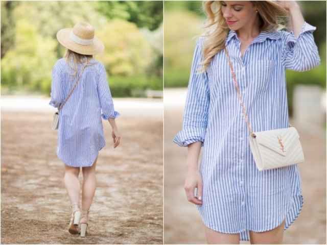 sky blue and white vertical striped shirt dress with straw hat