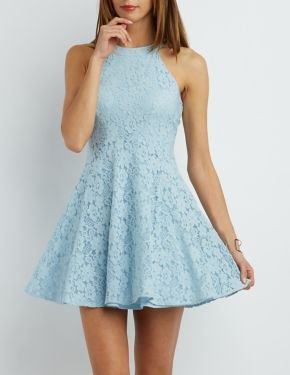 sky blue fit and flare halter short dress