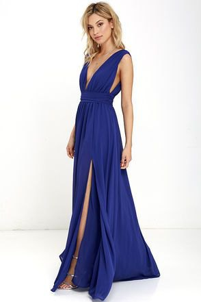 sleeveless deep v neck high slit fit and flare gown