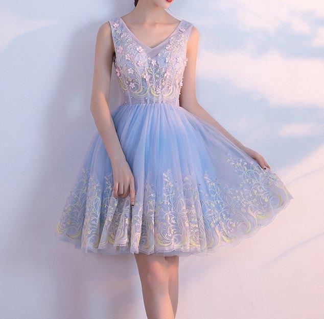 sleeveless fit and flare mini light blue chiffon dress