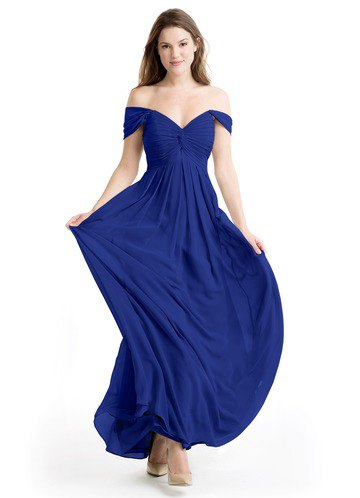 sweetheart neckline fit and flare royal blue gown