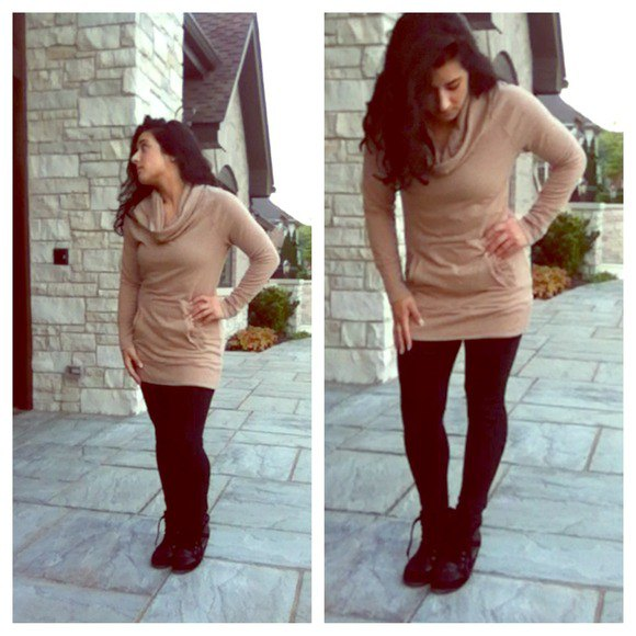 tan cowl neck tunic sweater with black leggings