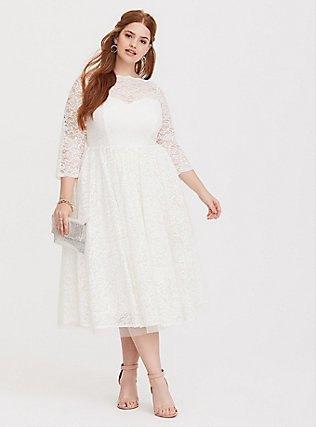 three quarter sleeve plus size white lace midi dress