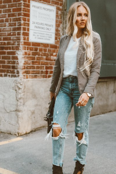 tweed blazer with ripped mom jeans and black boots