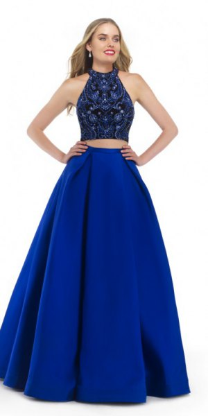two piece black and royal blue fit and flare floor length dress