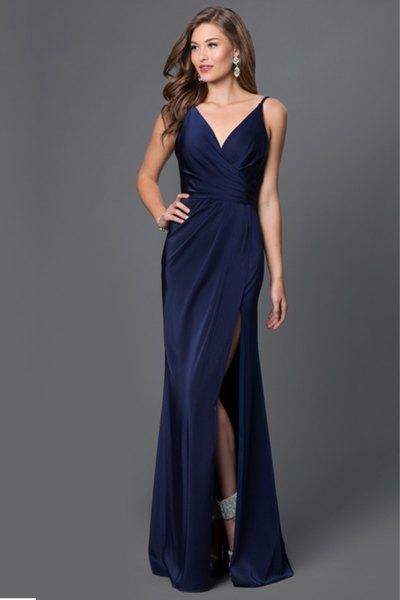 v neck high split navy blue maxi silk gown