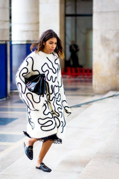 white and black printed maxi big sweater with lace maxi dress