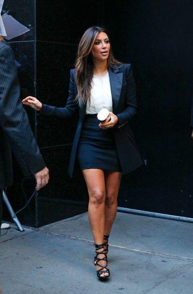 white chiffon blouse with black mini bodycon skirt