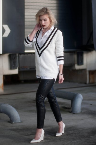 white deep v neck sweater with button up shirt