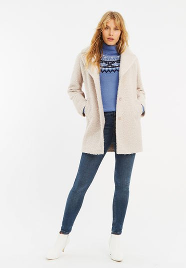 white fuzzy cardigan with sky blue printed mock neck sweater