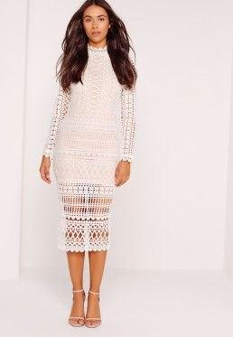 white midi semi sheer long sleeve lace dress