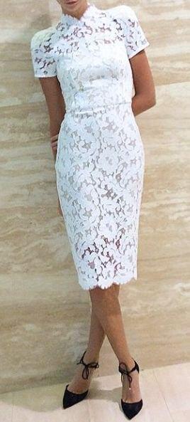 white mock neck short sleeve bodycon lace midi dress