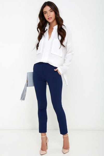 white oversized chiffon shirt with navy blue slim fit dress slacks