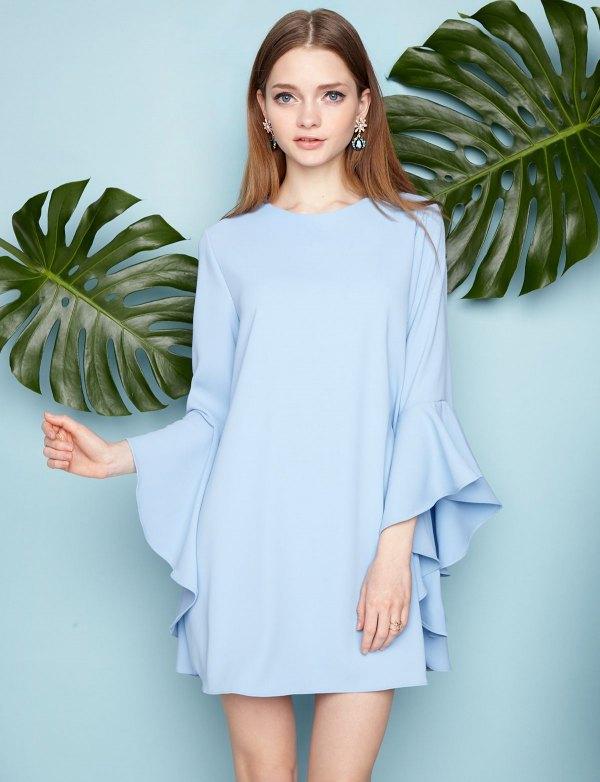 best light blue long sleeve dress outfit ideas for women