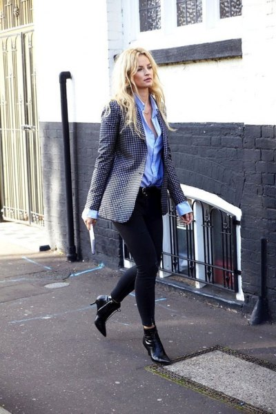 `black and white checkered oversized blazer with blue button up shirt