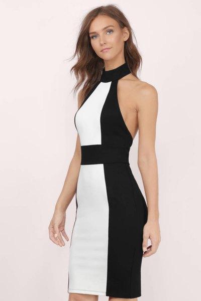 black and white color block high neck bodycon mini dress