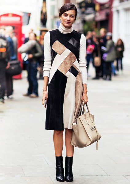 black and white color block sleeveless dress with mock neck sweatshirt