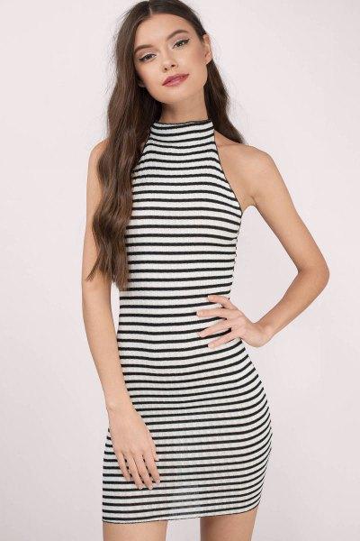 black and white striped sleeveless mini bodycon dress