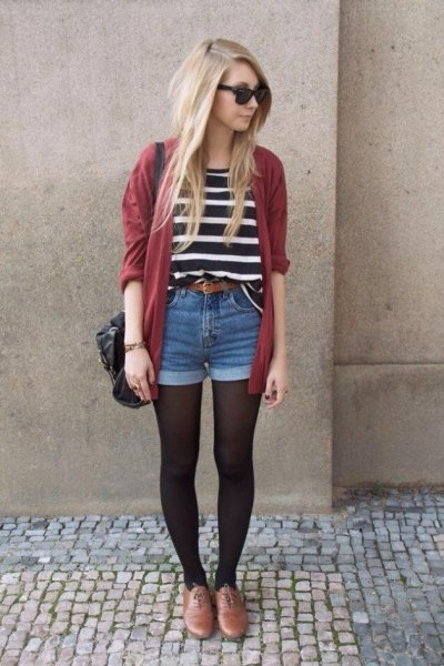 black and white striped tee with green cardigan and denim shorts
