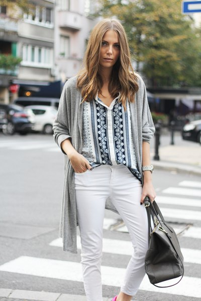 black and white tribal printed shirt with grey cardigan
