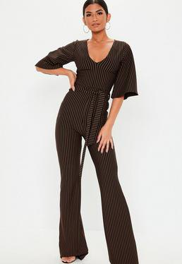 black and white vertical stripe v neck wide short sleeve formal jumpsuit