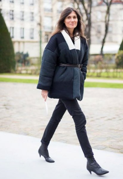 black belted coat with leather short kitten heel boots