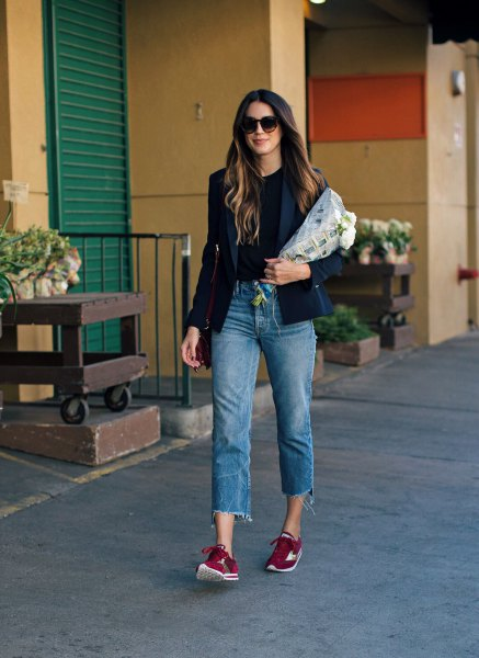black blazer with cropped boyfriend jeans and burgundy semi formal sneakers